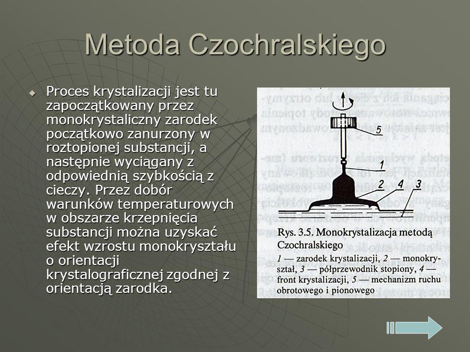 Metoda Czochralskiego Proces krystalizacji jest tu zapoczątkowany przez monokrystaliczny zarodek początkowo zanurzony w roztopionej substancji, a nast