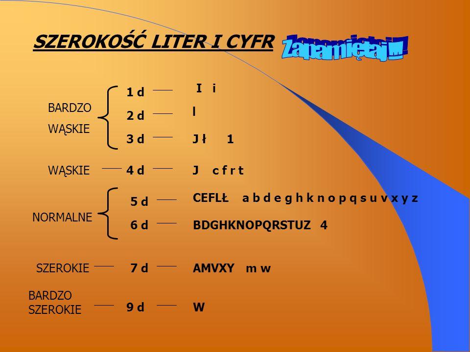 SZEROKOŚĆ LITER I CYFR BARDZO WĄSKIE 1 d 2 d 3 d I i l J ł 1 WĄSKIE4 dJ c f r t NORMALNE 5 d 6 d CEFLŁ a b d e g h k n o p q s u v x y z BDGHKNOPQRSTUZ 4 SZEROKIE7 dAMVXY m w BARDZO SZEROKIE 9 dW