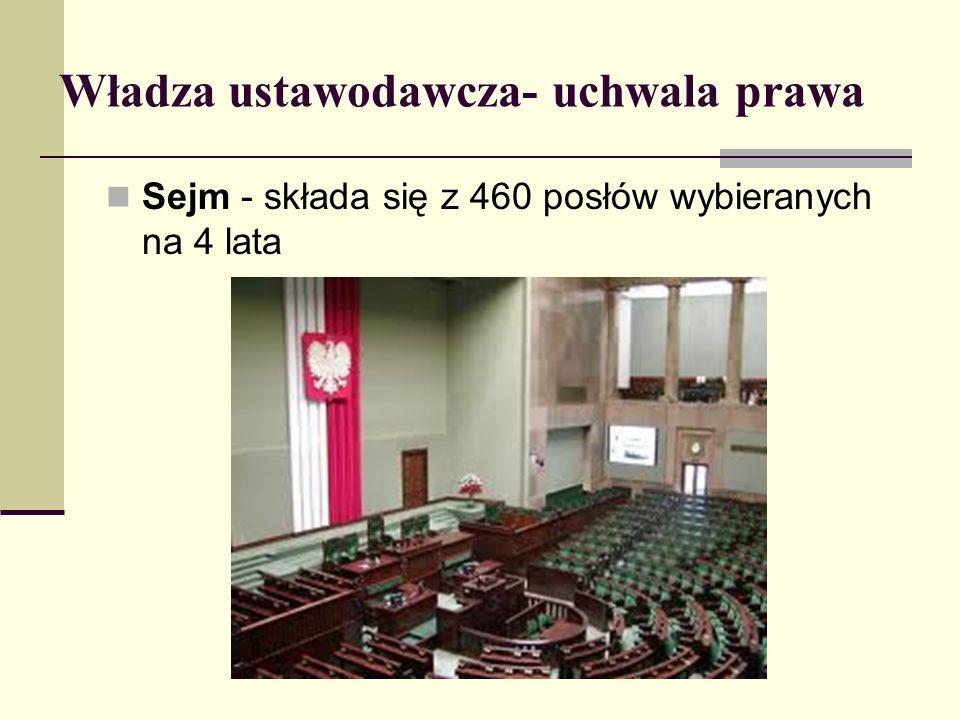 Władza ustawodawcza- uchwala prawa Sejm - składa się z 460 posłów wybieranych na 4 lata