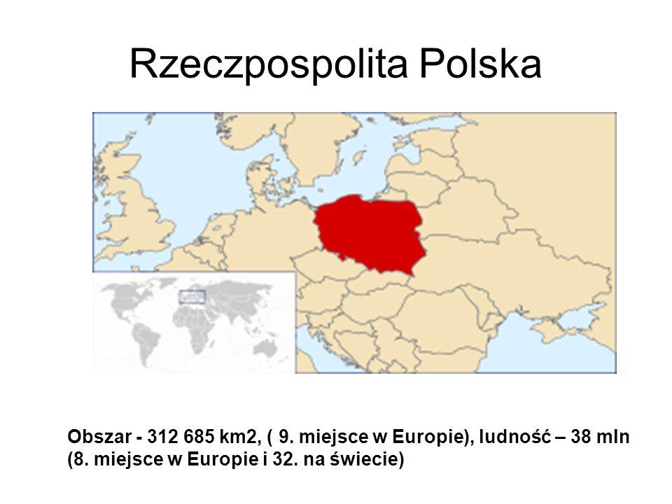 Rzeczpospolita Polska Obszar - 312 685 km2, ( 9. miejsce w Europie), ludność – 38 mln (8. miejsce w Europie i 32. na świecie)