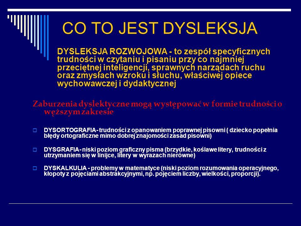 Ryzyko dysleksji Ryzyko dysleksji jest prawdopodobne w przypadku : - Obciążeń genetycznych-dziedziczenie - Ciąży i powikłań przy porodzie - Dysharmonijnego rozwoju psychomotorycznego