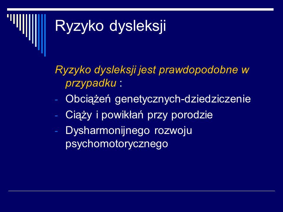 Ryzyko dysleksji Ryzyko dysleksji jest prawdopodobne w przypadku : - Obciążeń genetycznych-dziedziczenie - Ciąży i powikłań przy porodzie - Dysharmoni