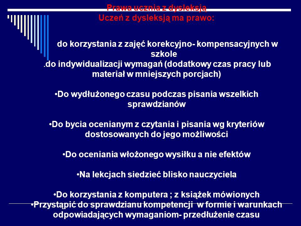 Prawa ucznia z dysleksją Uczeń z dysleksją ma prawo: do korzystania z zajęć korekcyjno- kompensacyjnych w szkole. do indywidualizacji wymagań (dodatko