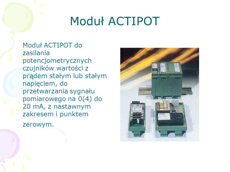 Moduł ACTIPOT Moduł ACTIPOT do zasilania potencjometrycznych czujników wartości z prądem stałym lub stałym napięciem, do przetwarzania sygnału pomiaro