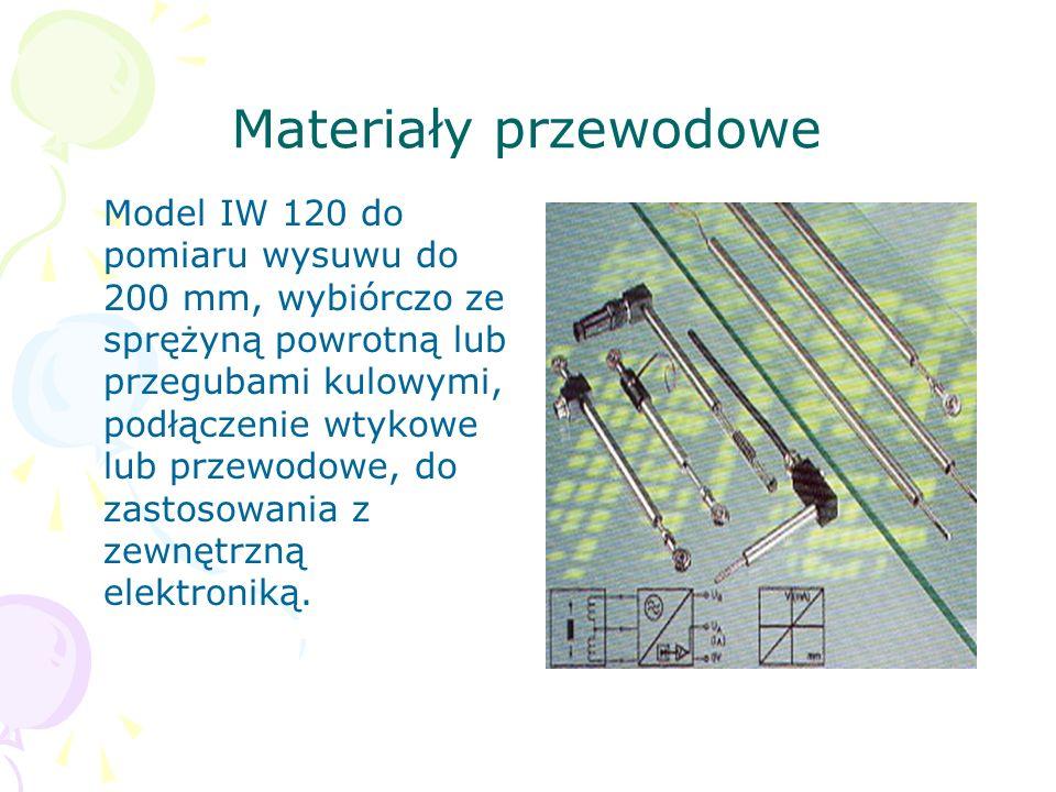 Materiały przewodowe Model IW 120 do pomiaru wysuwu do 200 mm, wybiórczo ze sprężyną powrotną lub przegubami kulowymi, podłączenie wtykowe lub przewod