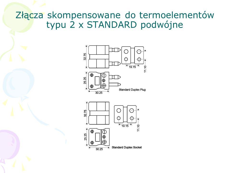 Złącza skompensowane do termoelementów typu 2 x STANDARD podwójne