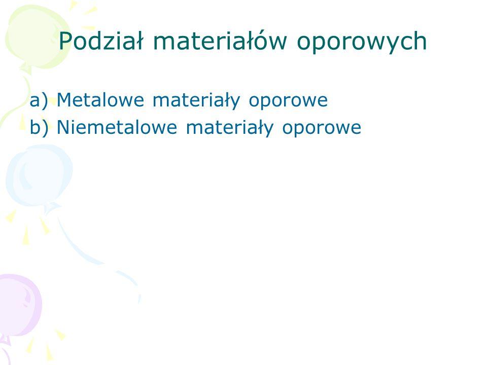 Podział materiałów oporowych a) Metalowe materiały oporowe b) Niemetalowe materiały oporowe