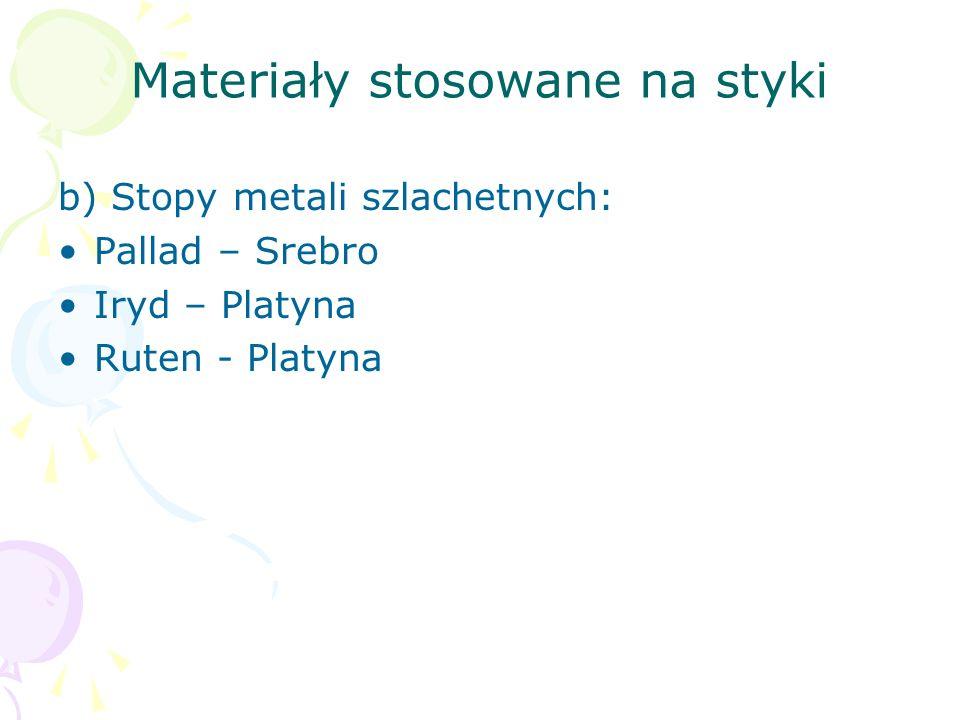 Materiały stosowane na styki b) Stopy metali szlachetnych: Pallad – Srebro Iryd – Platyna Ruten - Platyna