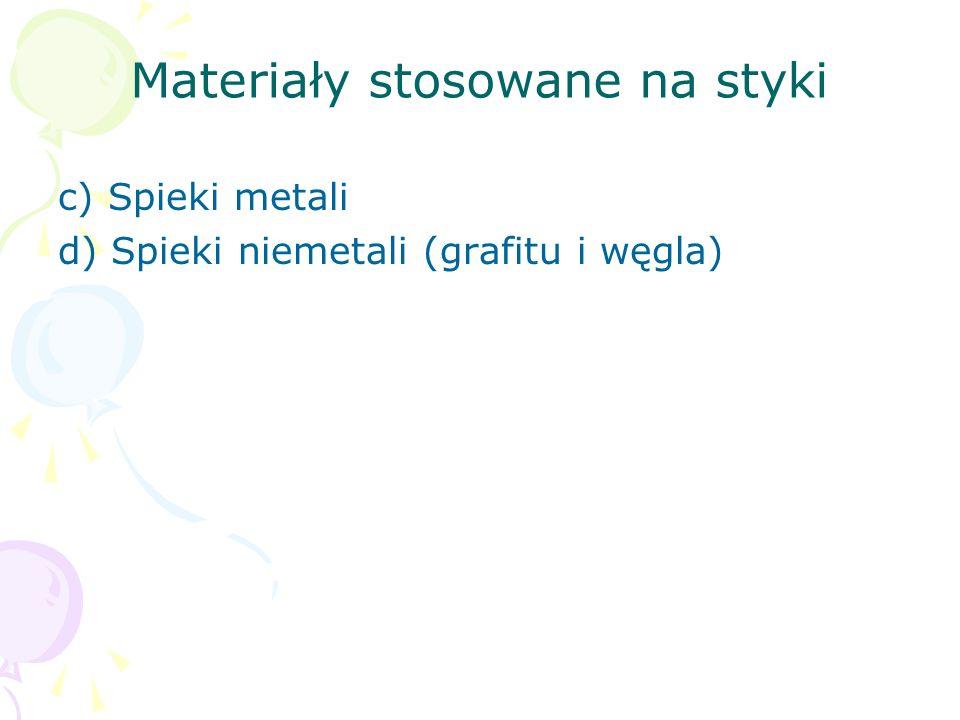 Materiały stosowane na styki c) Spieki metali d) Spieki niemetali (grafitu i węgla)