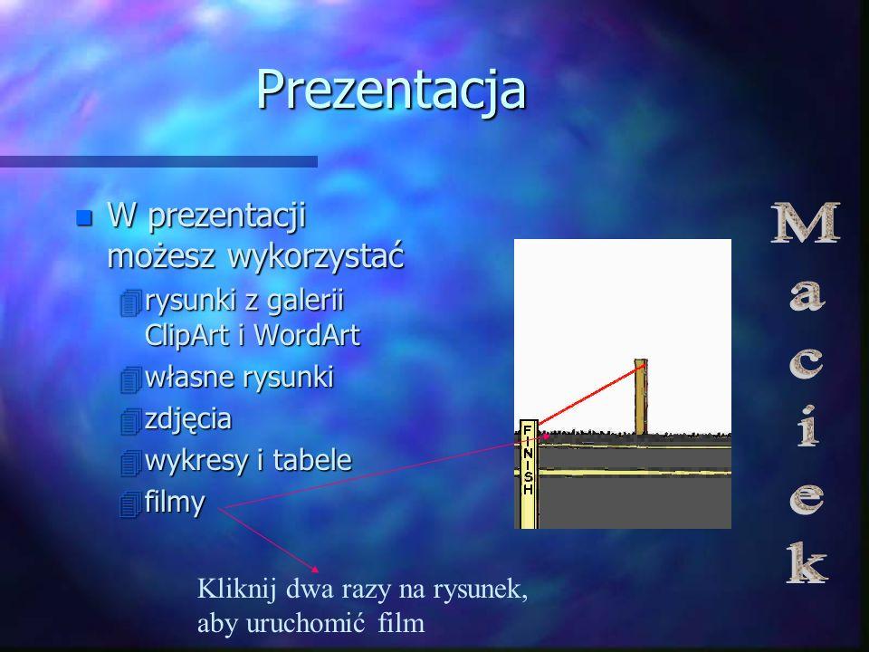 Prezentacja n W prezentacji możesz wykorzystać 4rysunki z galerii ClipArt i WordArt 4własne rysunki 4zdjęcia 4wykresy i tabele 4filmy Kliknij dwa razy na rysunek, aby uruchomić film
