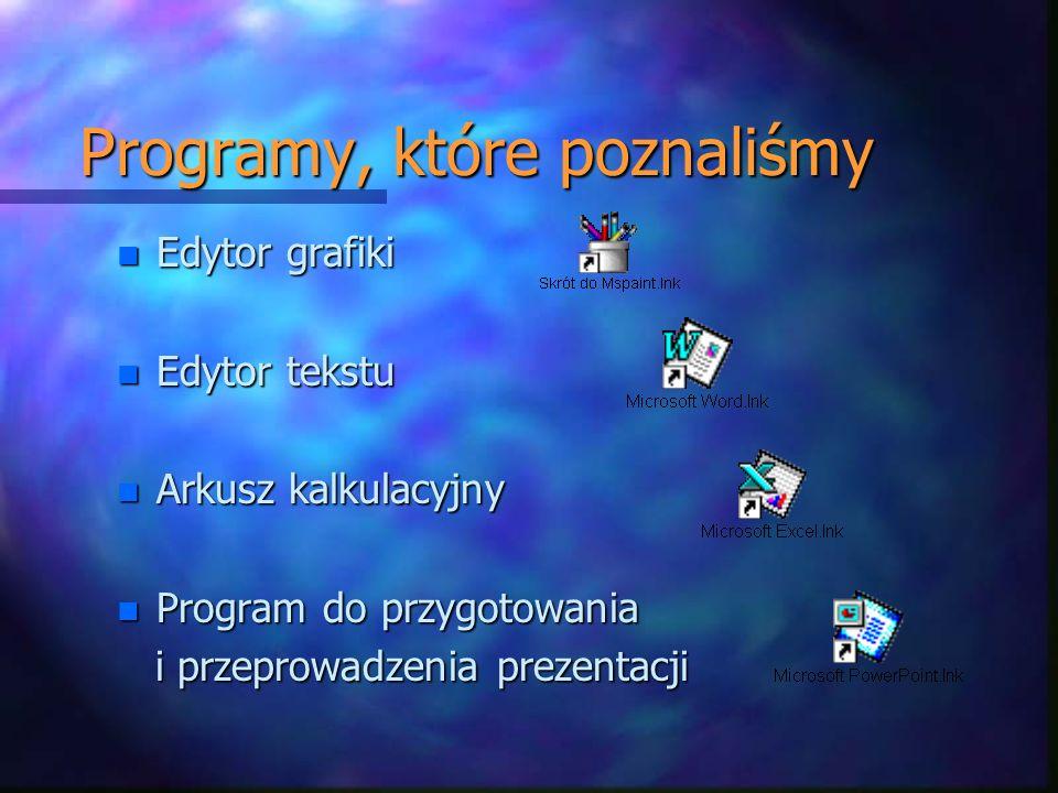 Programy, które poznaliśmy n Edytor grafiki n Edytor tekstu n Arkusz kalkulacyjny n Program do przygotowania i przeprowadzenia prezentacji i przeprowadzenia prezentacji