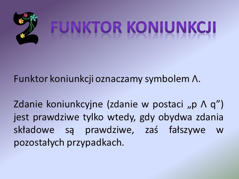 Funktor koniunkcji oznaczamy symbolem Λ. Zdanie koniunkcyjne (zdanie w postaci p Λ q) jest prawdziwe tylko wtedy, gdy obydwa zdania składowe są prawdz