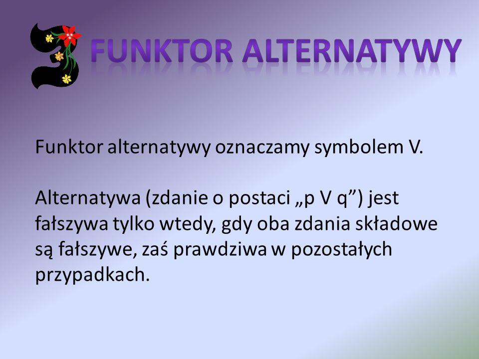 Funktor alternatywy oznaczamy symbolem V. Alternatywa (zdanie o postaci p V q) jest fałszywa tylko wtedy, gdy oba zdania składowe są fałszywe, zaś pra