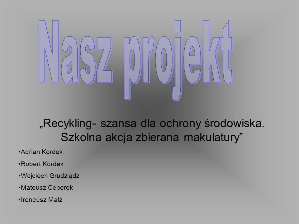 1.Wstęp 2.Przedstawienie naszego projektu 3.Co to jest recykling.