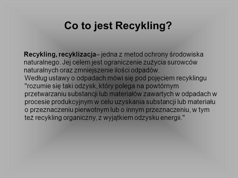 Co to jest Recykling? Recykling, recyklizacja– jedna z metod ochrony środowiska naturalnego. Jej celem jest ograniczenie zużycia surowców naturalnych
