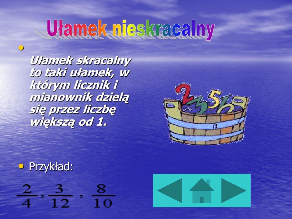Ułamek nieskracalny to taki ułamek, w którym licznik i mianownik nie dzielą się przez liczbę większą od 1. Przykład: