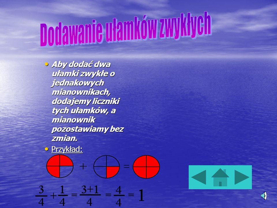 Ułamki zwykłe dzielna jest licznikiem, dzielnik mianownikiem, a kreska ułamkowa zastępuje znak dzielenia. Ułamek jest to iloraz dwóch liczb całkowityc