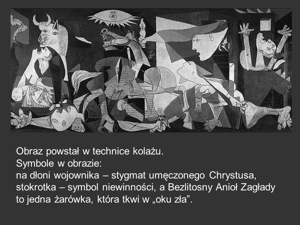 Obraz powstał w technice kolażu. Symbole w obrazie: na dłoni wojownika – stygmat umęczonego Chrystusa, stokrotka – symbol niewinności, a Bezlitosny An