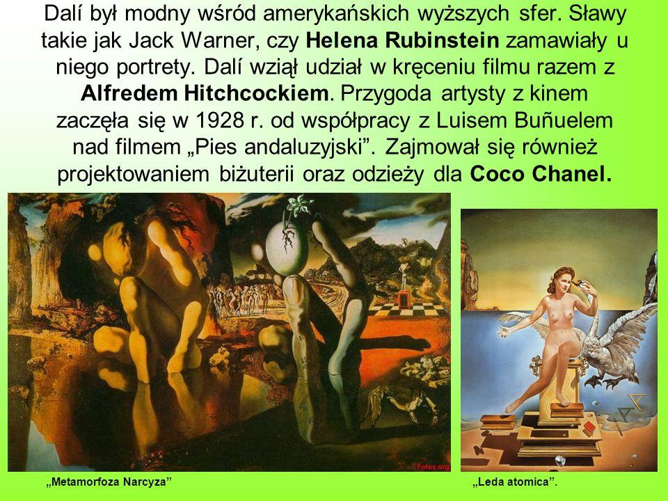 Dalí był modny wśród amerykańskich wyższych sfer. Sławy takie jak Jack Warner, czy Helena Rubinstein zamawiały u niego portrety. Dalí wziął udział w k