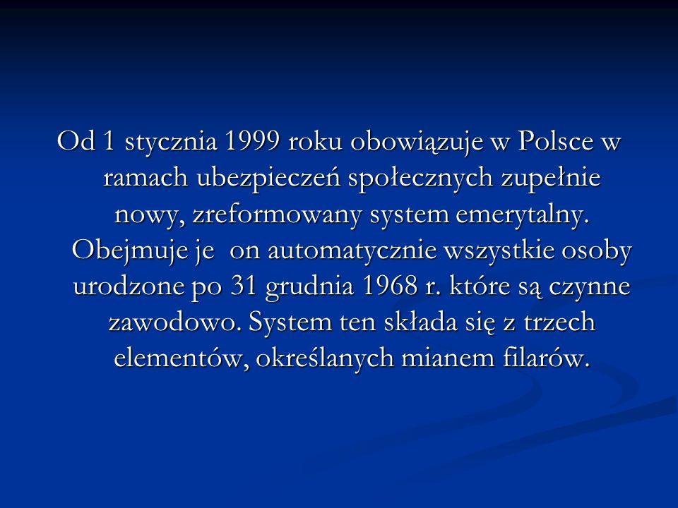 Od 1 stycznia 1999 roku obowiązuje w Polsce w ramach ubezpieczeń społecznych zupełnie nowy, zreformowany system emerytalny. Obejmuje je on automatyczn