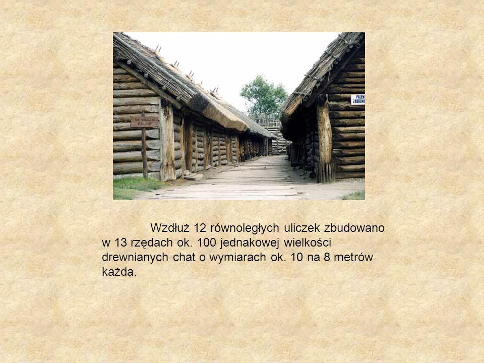 Wygląd chat Chaty w każdym rzędzie pokryte były jednym wspólnym dachem wykonanym prawdopodobnie z trzciny.