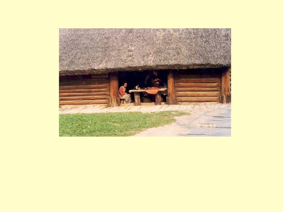 Wnętrze chaty - palenisko
