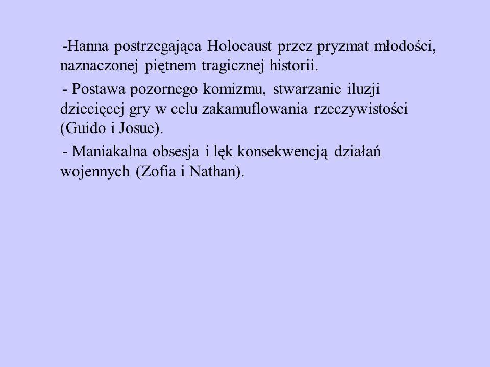 -Hanna postrzegająca Holocaust przez pryzmat młodości, naznaczonej piętnem tragicznej historii. - Postawa pozornego komizmu, stwarzanie iluzji dziecię