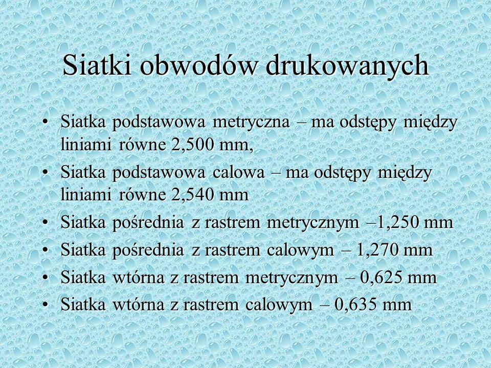 Siatki obwodów drukowanych Siatka podstawowa metryczna – ma odstępy między liniami równe 2,500 mm,Siatka podstawowa metryczna – ma odstępy między lini