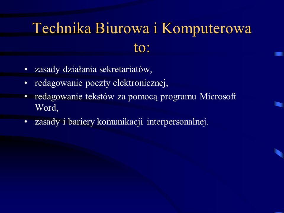 Technika Biurowa i Komputerowa to: organizacja pracy biurowej, urządzenia techniczne i przybory biurowe, organizacja obiegu pism, redagowanie i sporzą