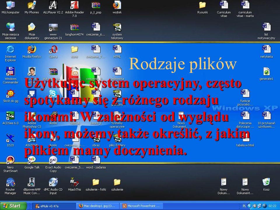 Rodzaje plików Użytkując system operacyjny, często spotykamy się z różnego rodzaju ikonami. W zależności od wyglądu ikony, możemy także określić, z ja