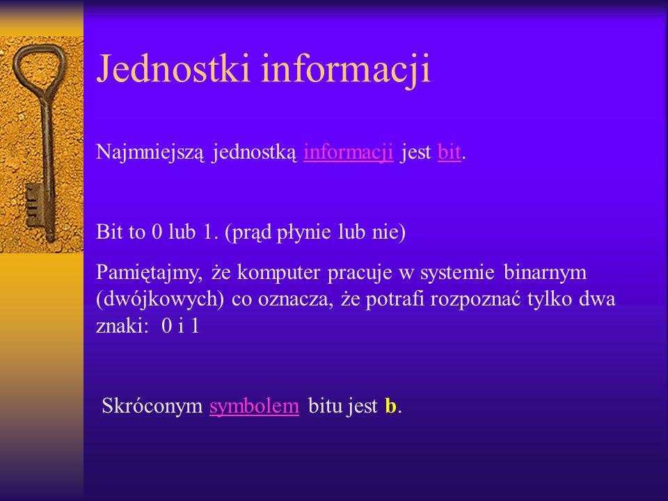 Jednostki informacji Najmniejszą jednostką informacji jest bit.informacjibit Bit to 0 lub 1. (prąd płynie lub nie) Pamiętajmy, że komputer pracuje w s