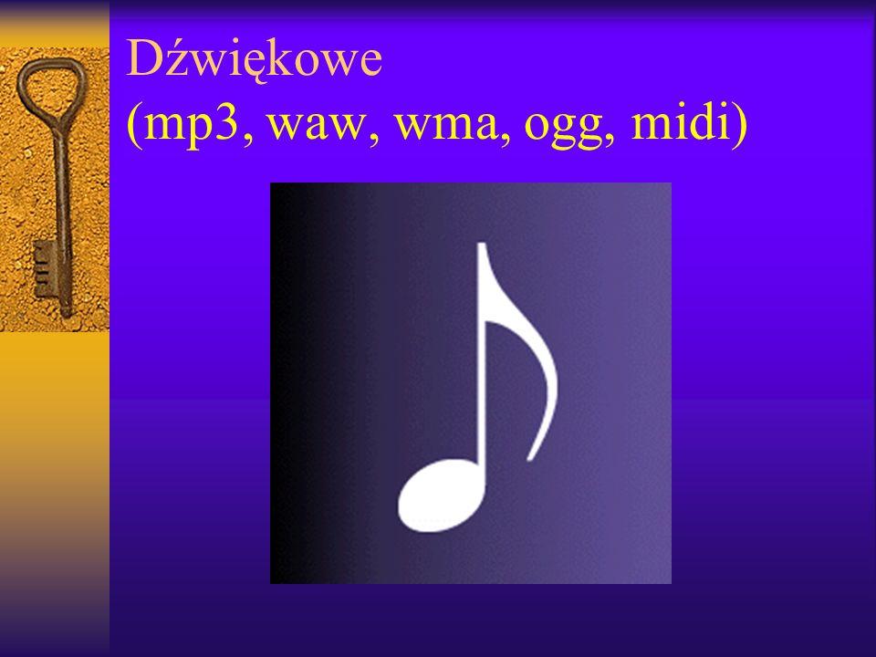 Dźwiękowe (mp3, waw, wma, ogg, midi)
