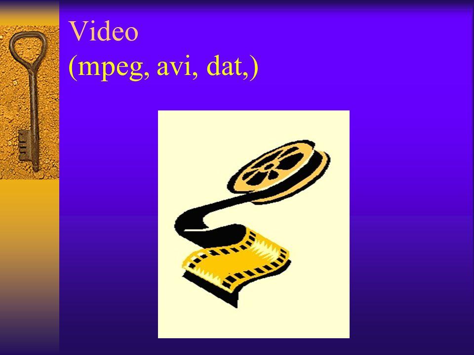 Video (mpeg, avi, dat,)