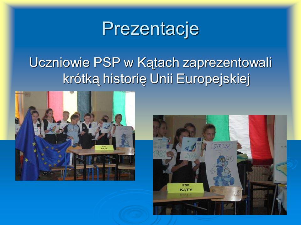 Prezentacje Uczniowie PSP w Kątach zaprezentowali krótką historię Unii Europejskiej