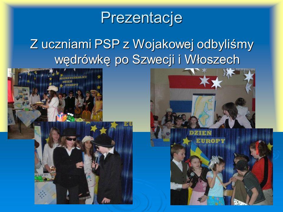 Prezentacje Z uczniami PSP z Wojakowej odbyliśmy wędrówkę po Szwecji i Włoszech