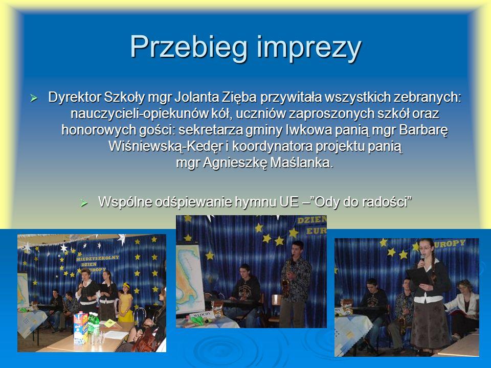 Przebieg imprezy Dyrektor Szkoły mgr Jolanta Zięba przywitała wszystkich zebranych: nauczycieli-opiekunów kół, uczniów zaproszonych szkół oraz honorow