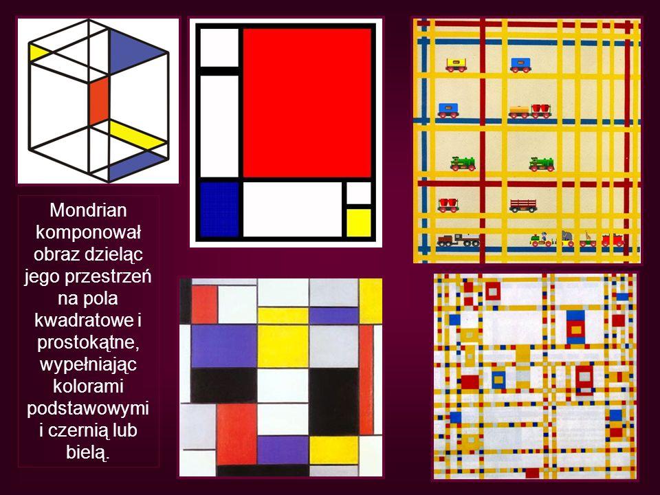 Mondrian komponował obraz dzieląc jego przestrzeń na pola kwadratowe i prostokątne, wypełniając kolorami podstawowymi i czernią lub bielą.