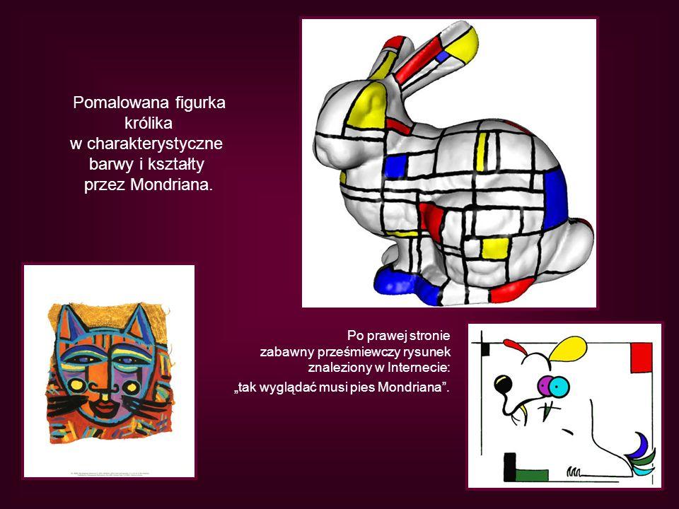 Pomalowana figurka królika w charakterystyczne barwy i kształty przez Mondriana. Po prawej stronie zabawny prześmiewczy rysunek znaleziony w Interneci