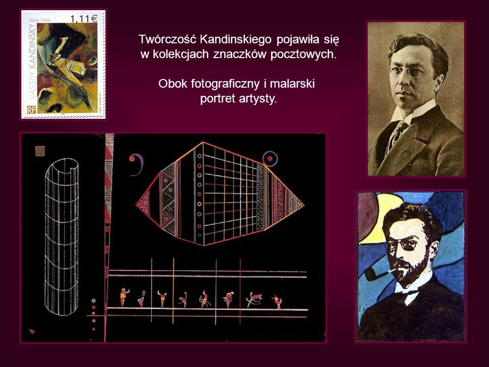 Twórczość Kandinskiego pojawiła się w kolekcjach znaczków pocztowych. Obok fotograficzny i malarski portret artysty.