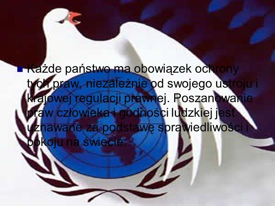 Generacje praw człowieka Rada Bezpieczeństwa ONZ prawo do życia; prawo do wolności myśli, sumienia i wyznania; prawo każdego człowieka do uznawania wszędzie jego podmiotowości prawnej; zakaz stosowania tortur, nieludzkiego lub poniżającego traktowania lub karania; zakaz trzymania człowieka w niewolnictwie lub poddaństwie; zakaz skazywania człowieka za czyn, który nie stanowił przestępstwa w chwili jego popełnienia; zakaz pozbawiania wolności jedynie z powodu niemożności wywiązania się ze zobowiązań umownych.