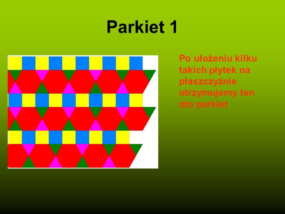 Płytka Oto jedna płytka naszego parkietu powstała z sześciokąta foremnego oraz dwóch trójkątów równobocznych i dwóch kwadratów