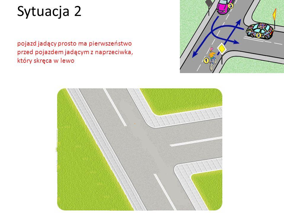 Sytuacja 2 pojazd jadący prosto ma pierwszeństwo przed pojazdem jadącym z naprzeciwka, który skręca w lewo