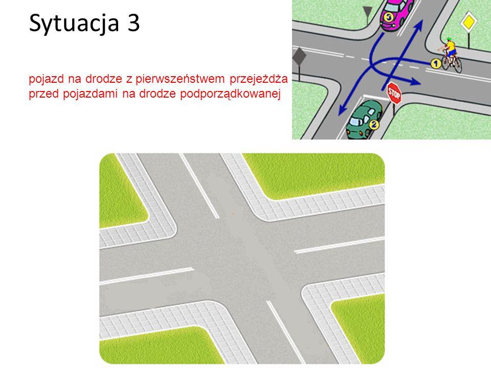 Sytuacja 3 pojazd na drodze z pierwszeństwem przejeżdża przed pojazdami na drodze podporządkowanej