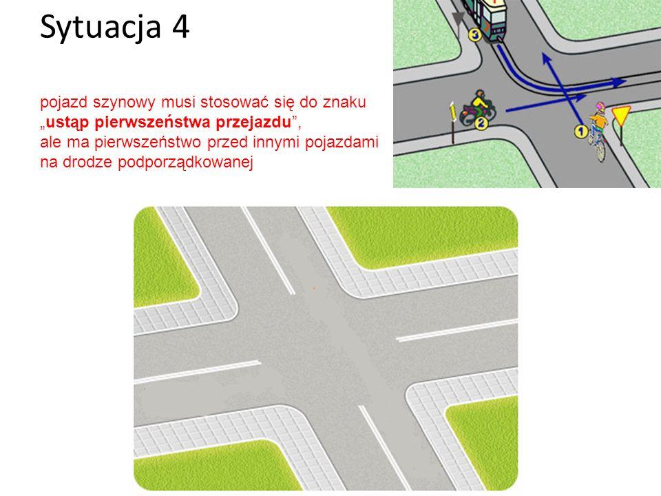 Sytuacja 4 pojazd szynowy musi stosować się do znakuustąp pierwszeństwa przejazdu, ale ma pierwszeństwo przed innymi pojazdami na drodze podporządkowa