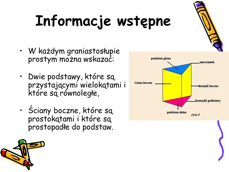 Informacje wstępne W każdym graniastosłupie prostym można wskazać: Dwie podstawy, które są przystającymi wielokątami i które są równoległe, Ściany boc