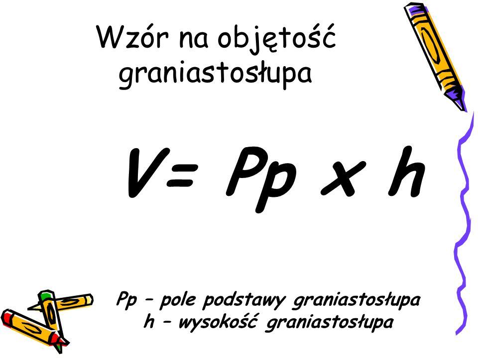 Wzór na objętość graniastosłupa V= Pp x h Pp – pole podstawy graniastosłupa h – wysokość graniastosłupa