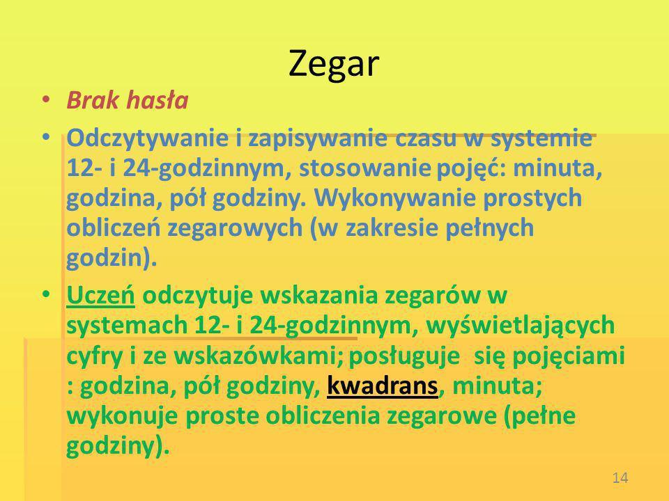 Zegar Brak hasła Odczytywanie i zapisywanie czasu w systemie 12- i 24-godzinnym, stosowanie pojęć: minuta, godzina, pół godziny. Wykonywanie prostych
