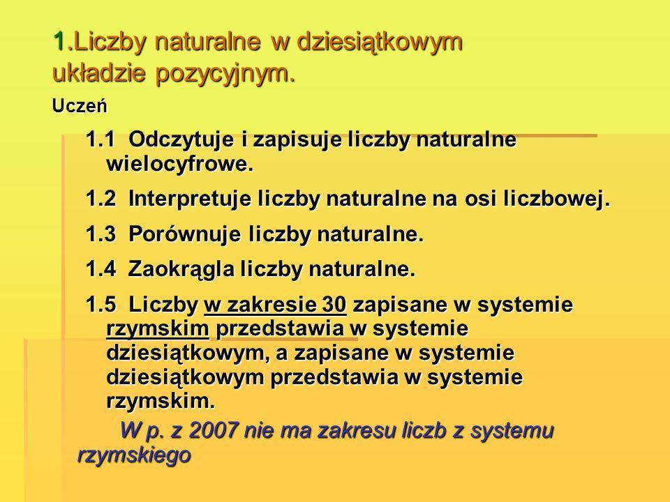 1.Liczby naturalne w dziesiątkowym układzie pozycyjnym. Uczeń 1.1 Odczytuje i zapisuje liczby naturalne wielocyfrowe. 1.2 Interpretuje liczby naturaln