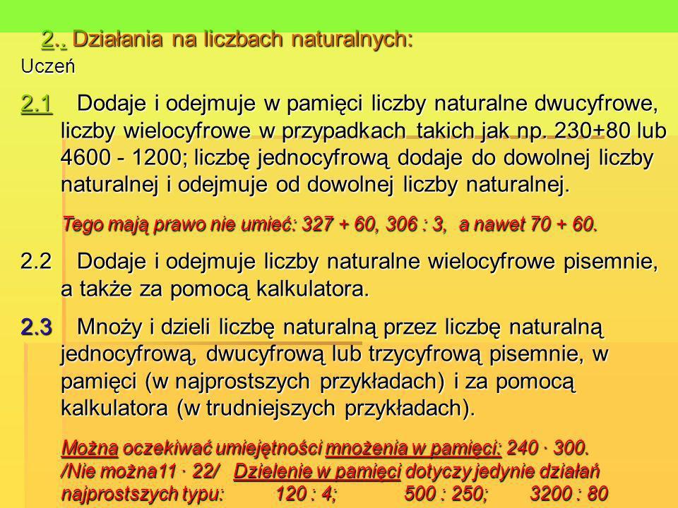22.. Działania na liczbach naturalnych:. 2. Uczeń 2.12.1 Dodaje i odejmuje w pamięci liczby naturalne dwucyfrowe, liczby wielocyfrowe w przypadkach ta