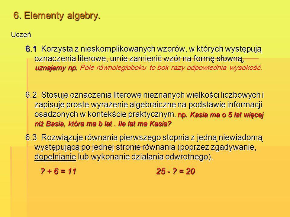 6. Elementy algebry. Uczeń 6.1 Korzysta z nieskomplikowanych wzorów, w których występują oznaczenia literowe, umie zamienić wzór na formę słowną, uzna